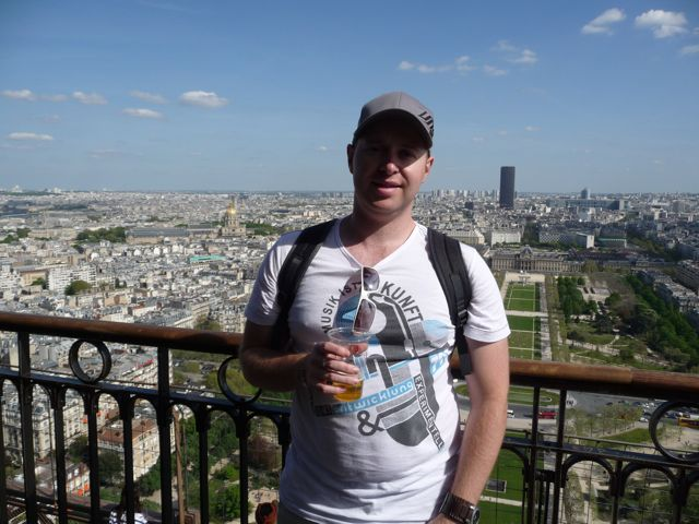 Drinking a beer on the Eiffel Tower