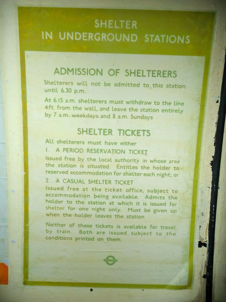 A list of rules to enter the shelters during the blitz in London