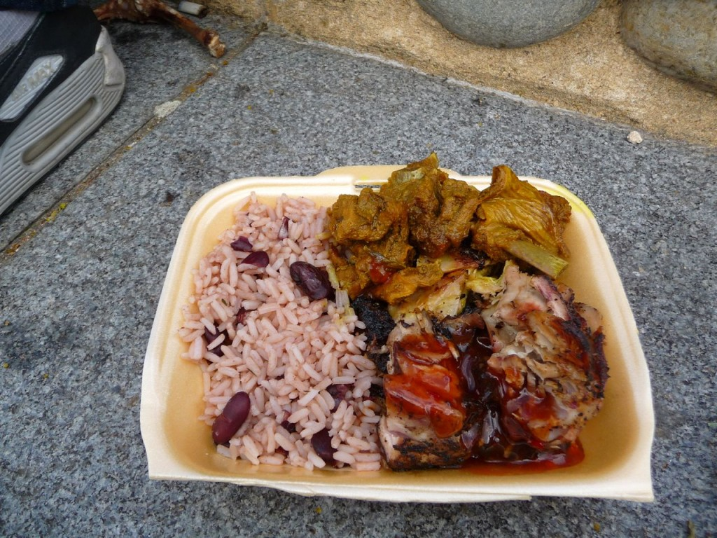 Jerk Chicken, Curry Goat and Rice and Beans from the Notting Hill Carnival